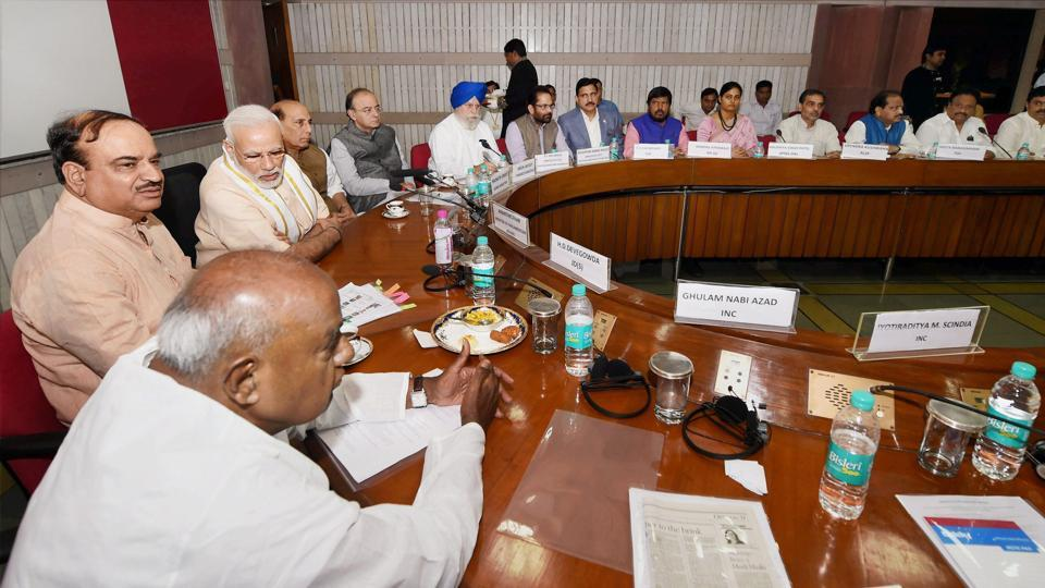Prime Minister Narendra Modi, home minister Rajnath Singh, finance minister Arun Jaitley, parliamentary affairs ministers Ananth Kumar, MoS SS Ahluwalia , former Prime Minister and JD(S) President HD Deve Gowda and others during an all-party meeting ahead of monsoon session of Parliament.