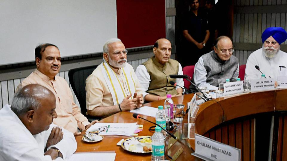 Prime Minister Narendra Modi, home minister Rajnath Singh, finance minister Arun Jaitley, Parliamentary affairs ministers Ananthkumar and SS Ahluwalia (extreme right) with former prime minister and JD(S) president HD Deve Gowda (extreme left) during an all-party meeting ahead of monsoon session, in New Delhi on Sunday.