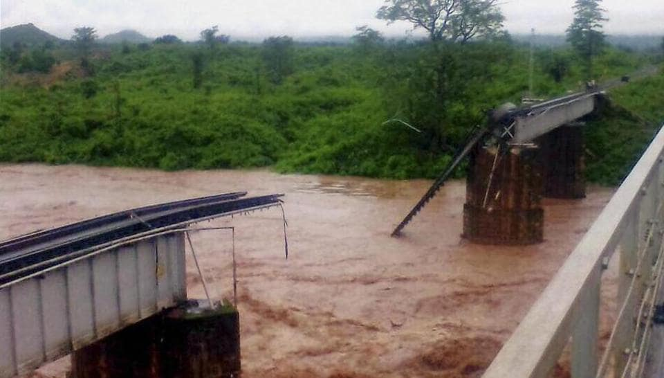 Damaged railway bridge over river Nagabali in Rayagada district on Sunday.