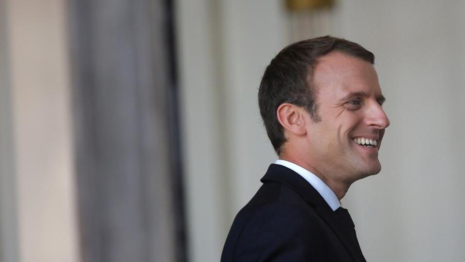 French President Emmanuel Macron reacts at the Elysee Palace in Paris, France.