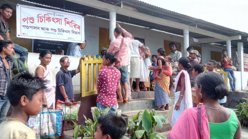 Inmates of the Hatikhuli flood relief camp near Kaziranga National park in Assam luckily have an anganwadi centre. Other camps are facing sub-human conditions say officials.