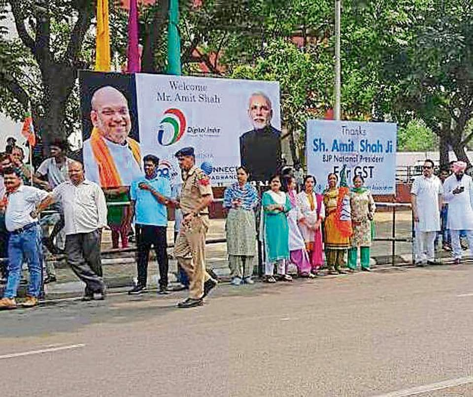 One of the hoarding such put up by local BJP unit, allegedly in violation of Advertisement Control Order Act, 1954.
