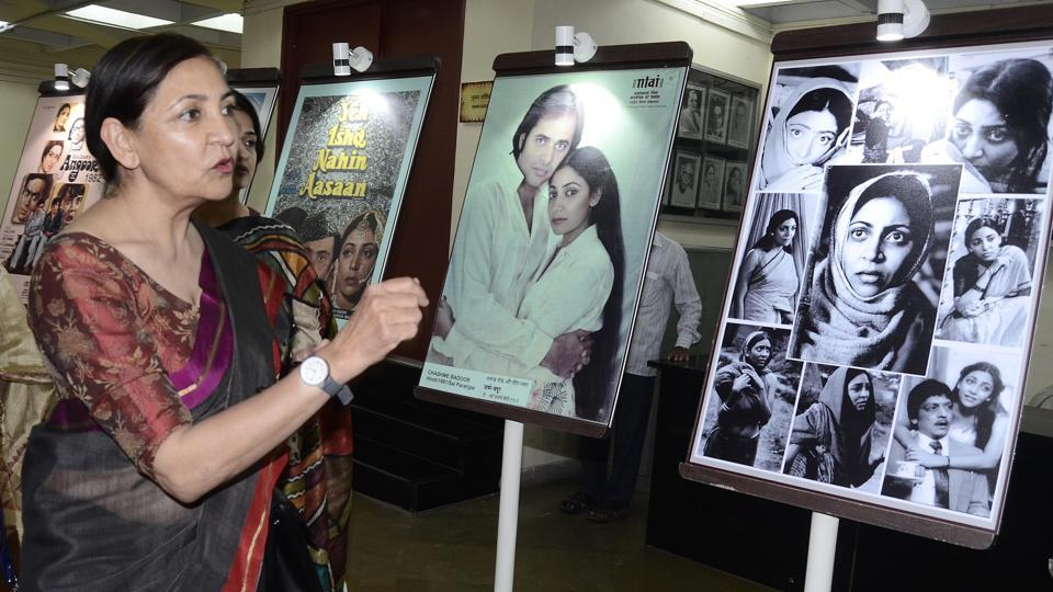 Actress Deepti Naval at an exhibition of her movie posters organised by the NFAI at her book launch.