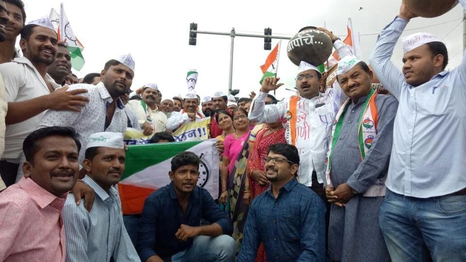 Nationalist Congress Party held protests at Chandan nagar and demanded to start the Bhama Ashkhed project work immediately.