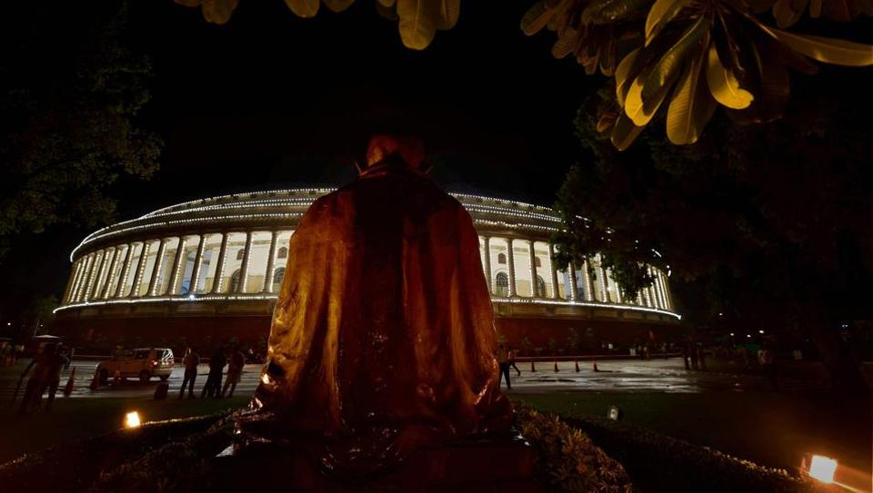 An illuminated Parliament ahead of midnight launch of 'Goods and Services Tax (GST)' in New Delhi on Saturday.