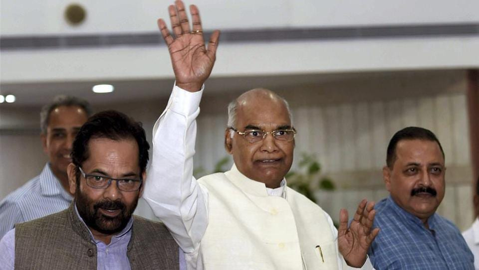 Presidential candidate Ram Nath Kovind arrives for an NDA meeting at Parliament House in New Delhi on Sunday.