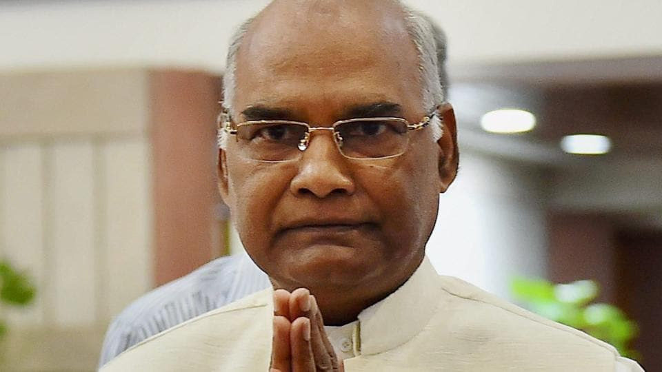 NDA's presidential candidate Ram Nath Kovind arrives for NDA meeting at Parliament House in New Delhi on Sunday.