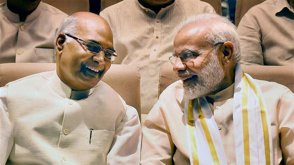 Presidential candidate Ram Nath Kovind and Prime Minister Narendra Modi at an NDA meeting in New Delhi on Sunday.