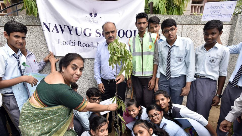 NDMC Chairperson Naresh Kumar during a plantation drive at Navyug School, Lodhi Colony in New Delhi, India, on Saturday.