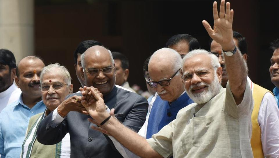 NDA presidential nominee Ram Nath Kovind with Prime Minister Narendra Modi and veteran leader LK Advani in New Delhi last month.