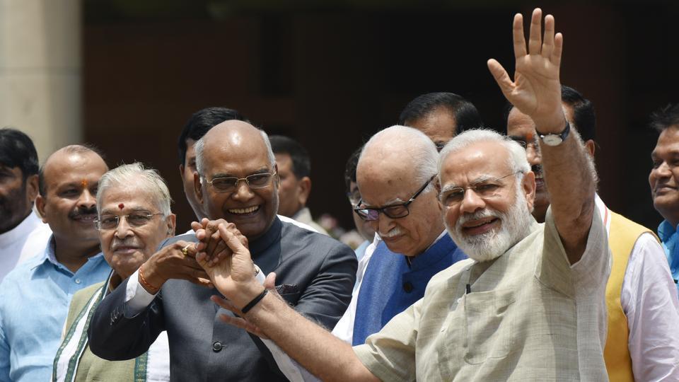 NDA presidential nominee Ram Nath Kovind with Prime Minister Narendra Modi, veteran leaders L K Advani, Murli Manohar Joshi going to file his nomination papers in Parliament in New Delhi, India, on Friday, June 23, 2017.