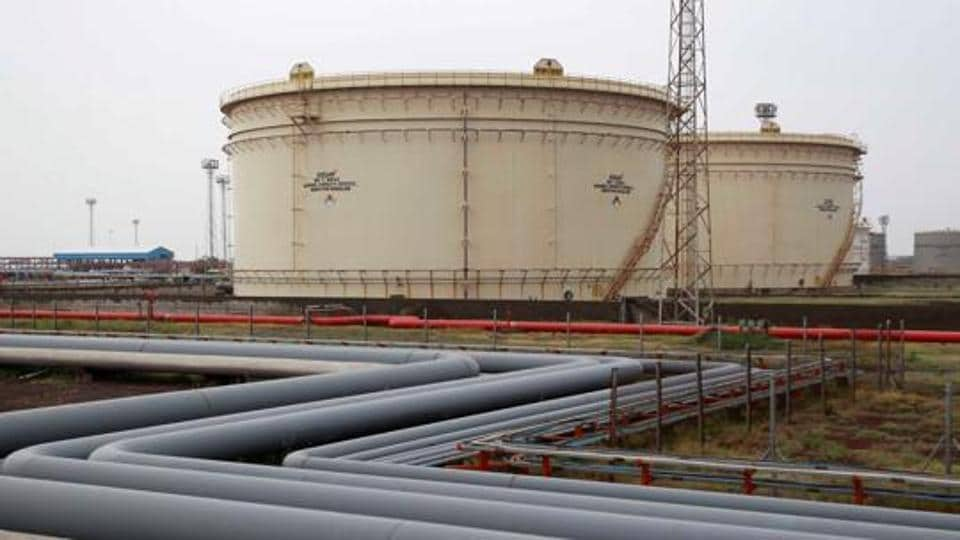 Storage tanks of an oil refinery of Essar Oil, which runs India's second biggest private sector refinery, are pictured in Vadinar in the state of Gujarat.