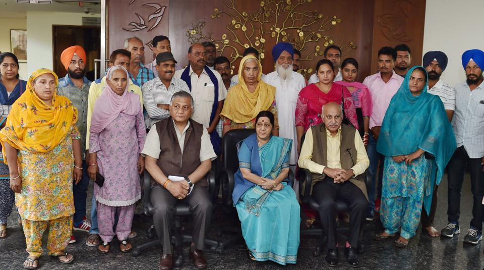 External affairs minister Sushma Swaraj with minister of state for external affairs M J Akbar and V K Singh after meeting with the family members of 39 Indian men missing in Iraq on July 16.