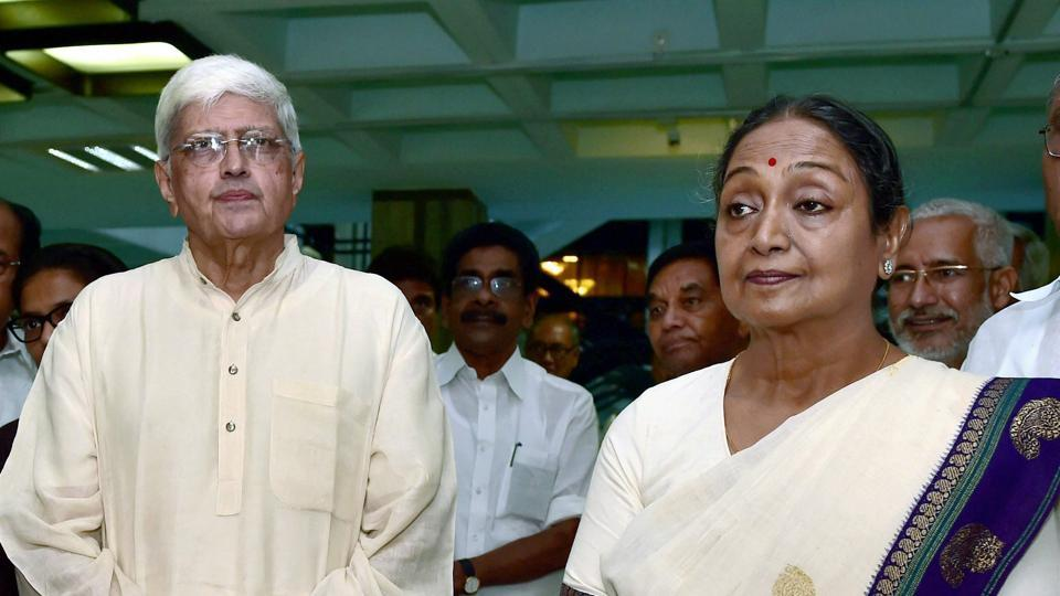 UPA presidential candidate Meira Kumar and vice-presidential candidate Gopal Krishna Gandhi after a UPA meeting in New Delhi on Sunday.