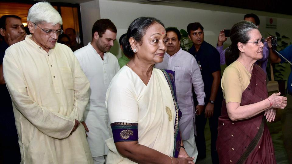 Congress president Sonia Gandhi with presidential candidate Meira Kumar and vice-presidential candidate Gopal Krishna Gandhi after the UPA meeting in New Delhi on Sunday.