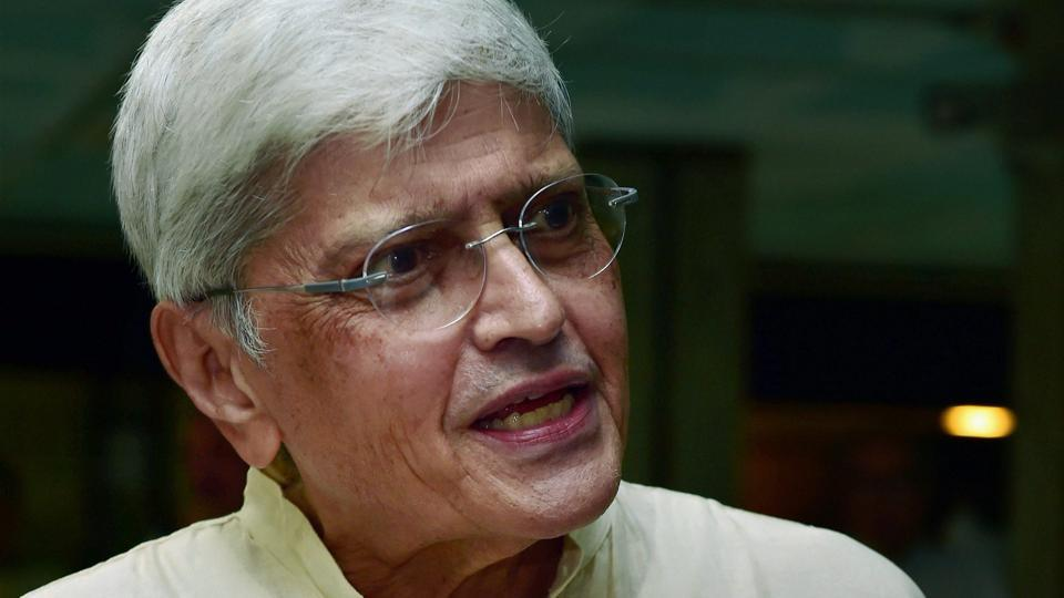 Vice-Presidential candidate Gopalkrishna Gandhi at the UPA meeting in New Delhi on Sunday.