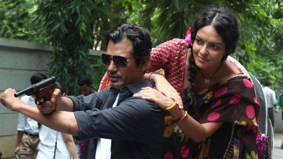 Nawazuddin Siddiqui and Bidita Bag during the trailer launch of Babumoshai Bandookbaaz in Mumbai.