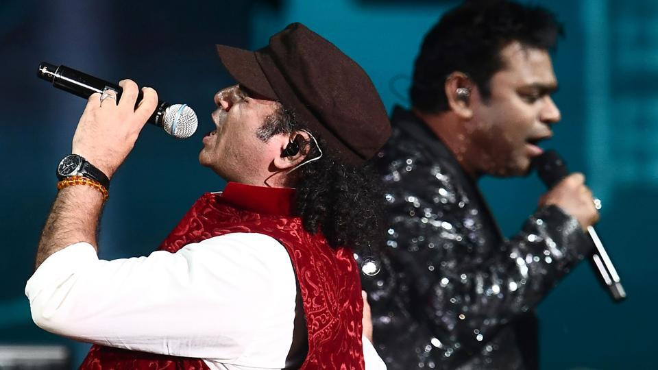 AR Rahman and Mohit Chauhan perform on stage during IIFA Rocks.