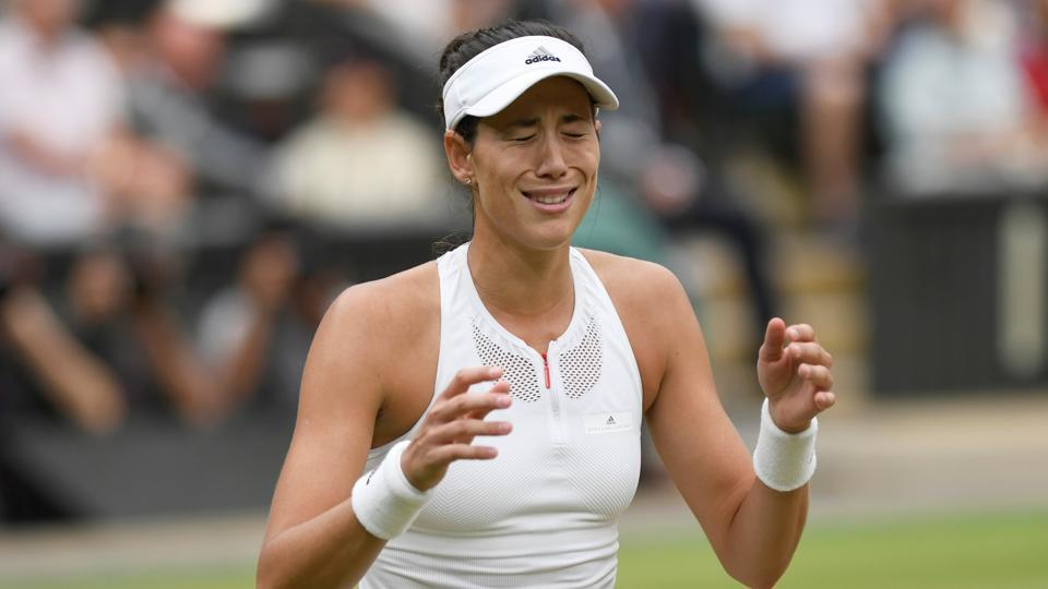 Garbine Muguruza celebrates winning the Wimbledon final against Venus Williams.