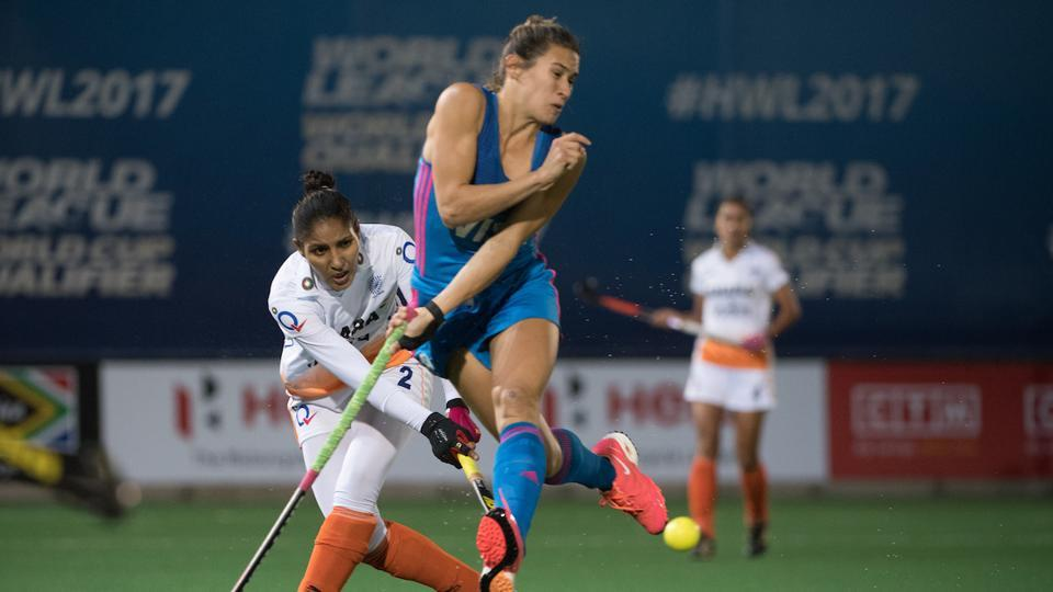 India lost 0-3 to Argentina in the women's Hockey World League Semi-Finals in Johannesburg on Sunday.