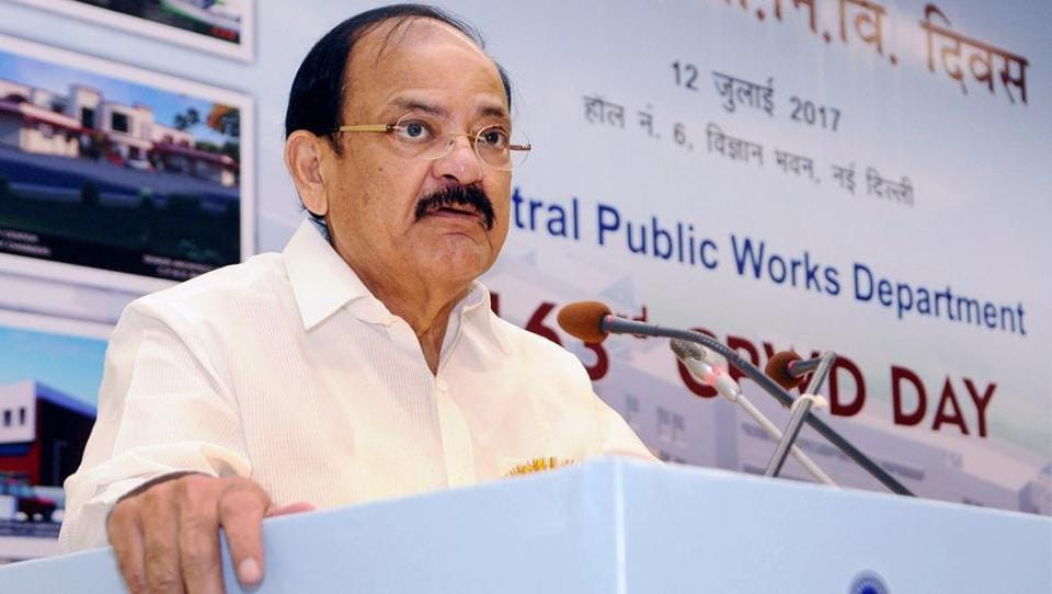 Union minister M Venkaiah Naidu delivers an addresses at an event in New Delhi. The BJP leader will face Opposition nominee Gopal Krishna Gandhi in the vice presidential election on August 5, sources said.