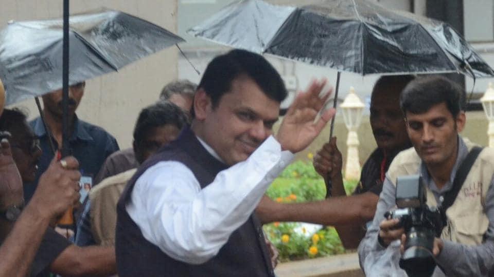 CM Devendra Fadnavis arrives at the Vidhan Bhavan onMonday.