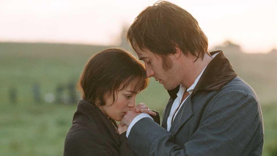 Keira Knightley and Matthew Macfadyen in a still from the 2005 film adaptation of Jane Austen's Pride & Prejudice.