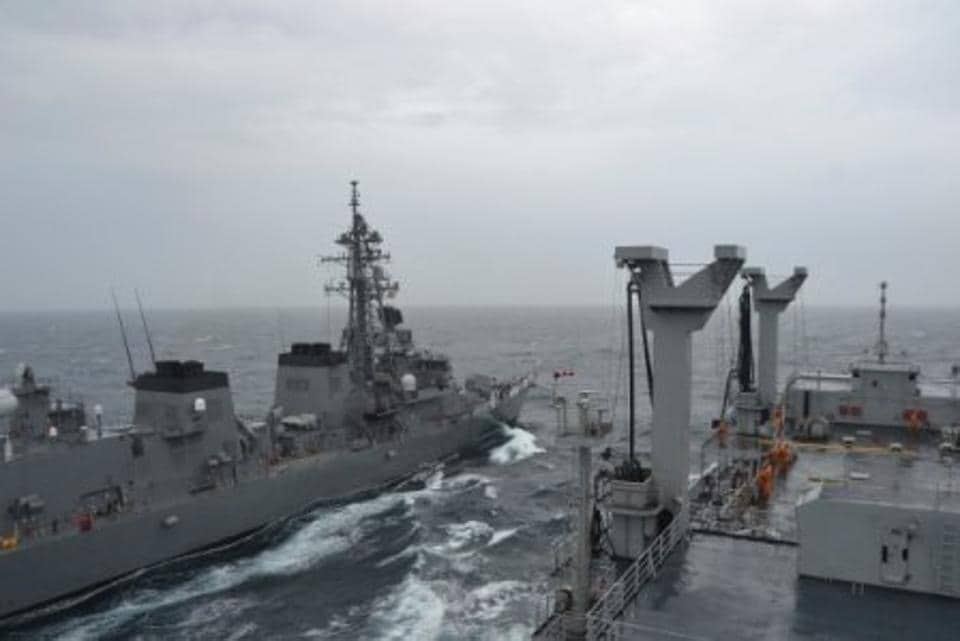 EF Support ship INS Jyoti at Sea Ops with Japan's JS Sazanami and US Navy's USS Shoup.