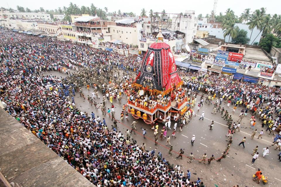 On the way. The chariot of Subhadra midway on its return journey form the Gundicha Temple to Srimandira.