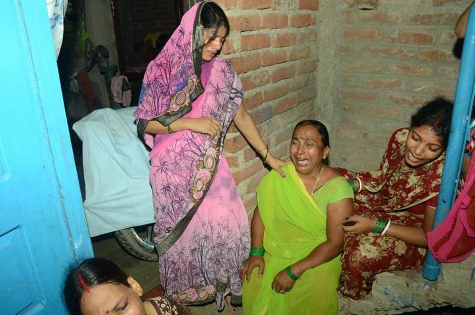 Family members at Danapur (Bihar) grieve for pilgrims killed in Sunday's road mishap en route to Amarnath.