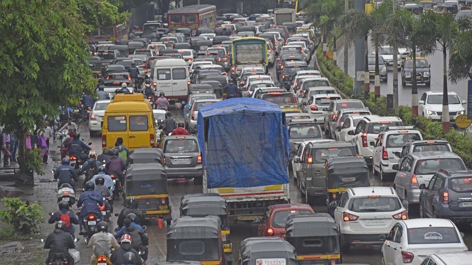 Vehicles stuck on JVLR on Monday.