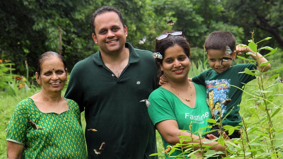 Sandeep Athalye flanked by his wife Vardayeeni (right), their son Malhar and mother Aarti (left).