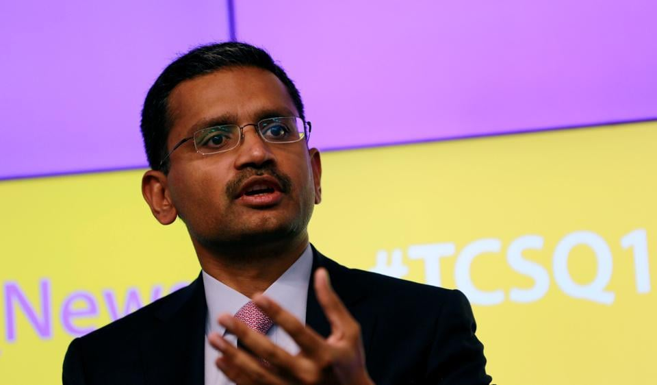 Tata Consultancy Services (TCS) Chief Executive Officer Rajesh Gopinathan speaks during a news conference announcing the company's quarterly results in Mumbai, India, July 13, 2017.
