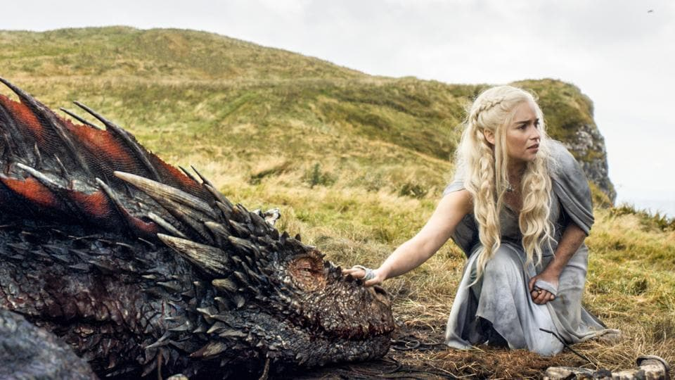 Emilia Clarke appears in a scene from Game of Thrones, as the menacing, white-haired Daenerys Targaryen, aka Khaleesi, aka Mother of Dragons.