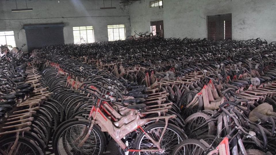 Bicycles for school student beneficiaries at rusting at the PCMC Nehrunagar godown in Pune.