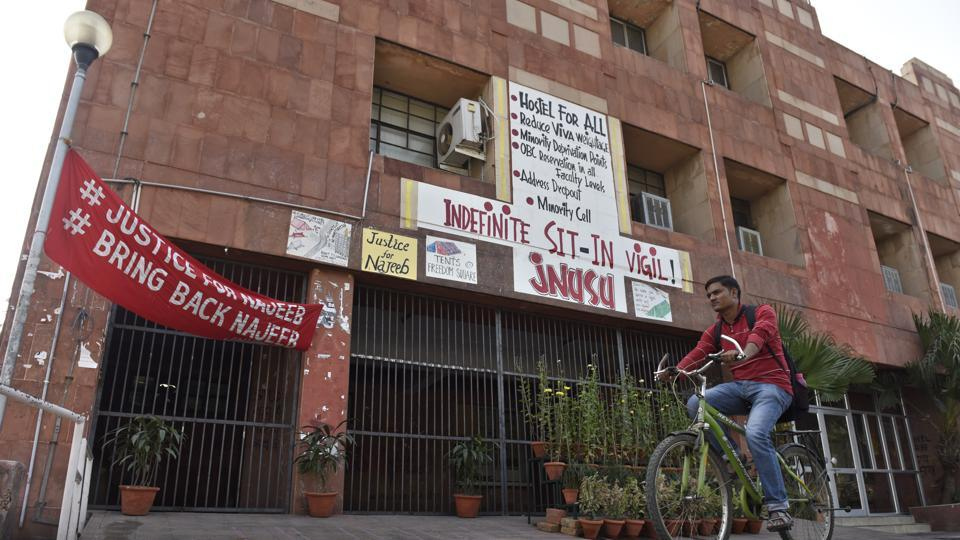 "The protest meeting, held outside the administrative block of JNU, saw a group of students equivocally condemning the alleged ""autocratic and authoritarian"" regime at the university."