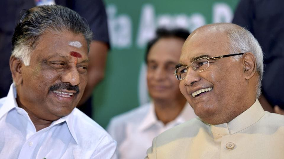 NDA Presidential candidate Ram Nath Kovind who is on a brief visit to city to seek votes for his candidature sharing a lighter moment with former Tamil Nadu Former Chief Minister O Panneerselvam in Chennai on Saturday.