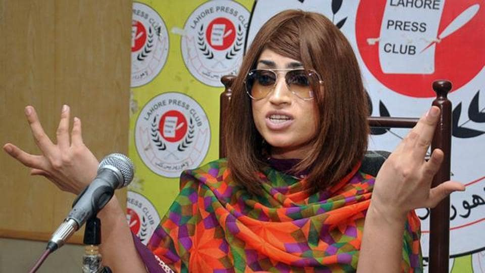 In this picture taken on June 28, 2016, Pakistani fashion model Qandeel Baloch speaks during a press conference in Lahore.