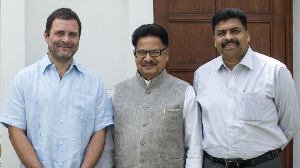 Newly appointed All India Congress Committee (AICC) secretary, a former IPS officer, Arun Oraon ( extreme right) along with AICC Vice President Rahul Gandhi and AICC General Secretary, P L Punia in New Delhi