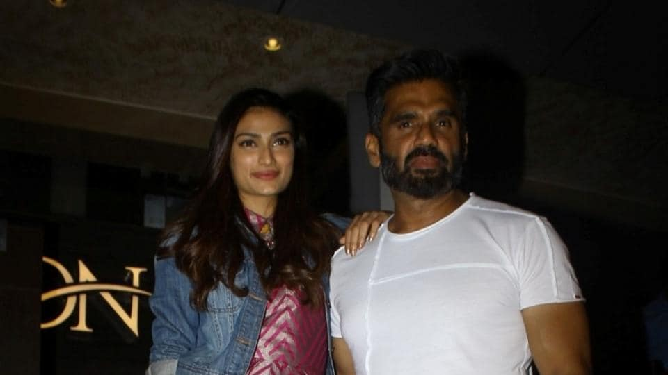 Suniel Shetty along with his daughter Athiya Shetty during the screening of Tubelight.