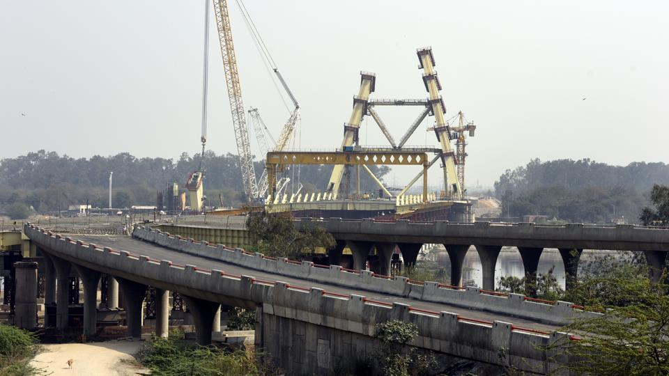 The under-construction Signature Bridge at Wazirabad. The bridge was initially supposed to be ready for the 2010 Commonwealth Games in Delhi.