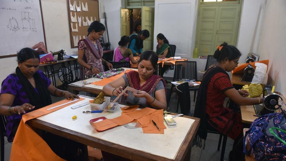 Youngsters, men and women work on various platforms at the lighthouse in Aundh. The 'lighthouses of Pune' is a multi-disciplinary project with a holistic approach to skill development.