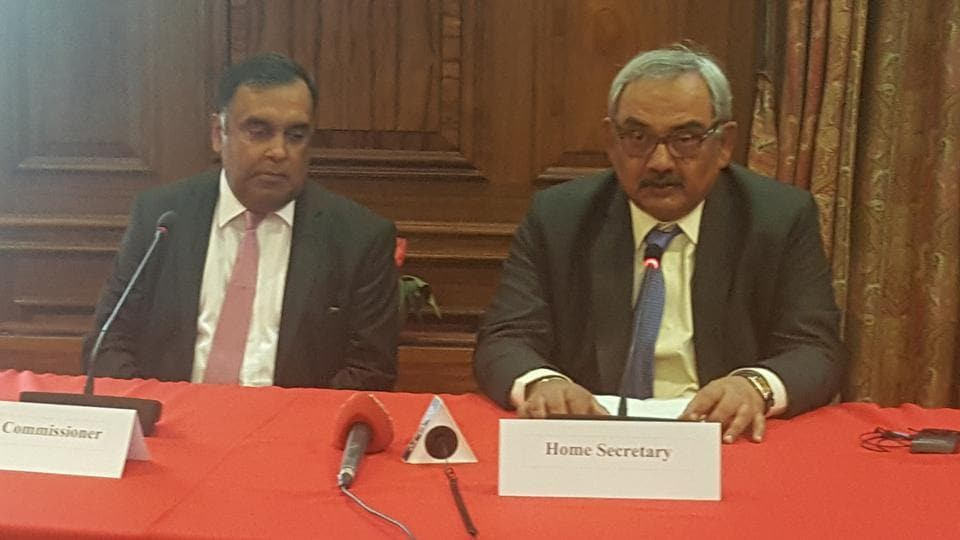 Home secretary Rajiv Mehrishi and Indian high commissioner YK Sinha (left) during a media interaction at India House in London on July 17, 2017.
