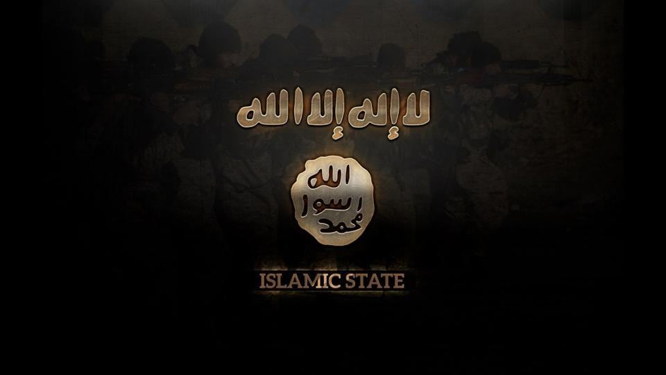 An Islamic State banner. There has been an increasing adoption of Islamic State banners and flags by disaffected youngsters of Kashmir during the unrest that followed the killing of Hizbul Mujahideen commander Burhan Wani a year ago.