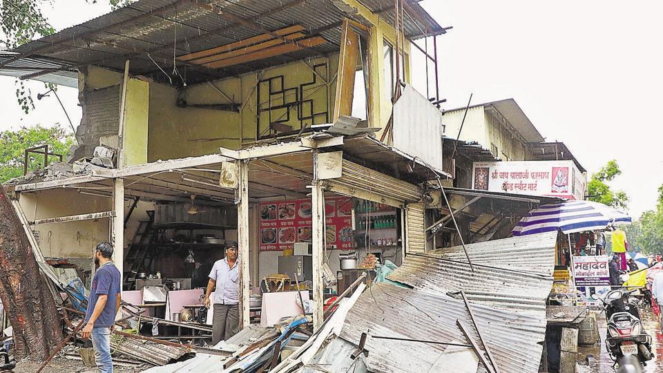 Three shops bite the dust in PMC's demolition drive in Kondhwa