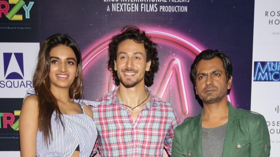 Nidhhi Agerwal, Tiger Shroff and Nawazuddin Siddiqui promote Munna Michael in New Delhi.