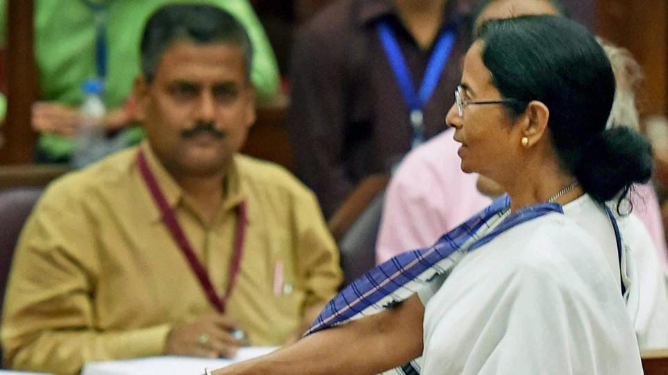 West Bengal chief minister Mamata Banerjee casts her vote during the Presidential election at West Bengal legislative assembly in Kolkata on Monday.