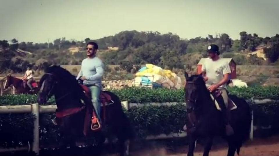 Salman Khan tries his hand at horse riding in New York.