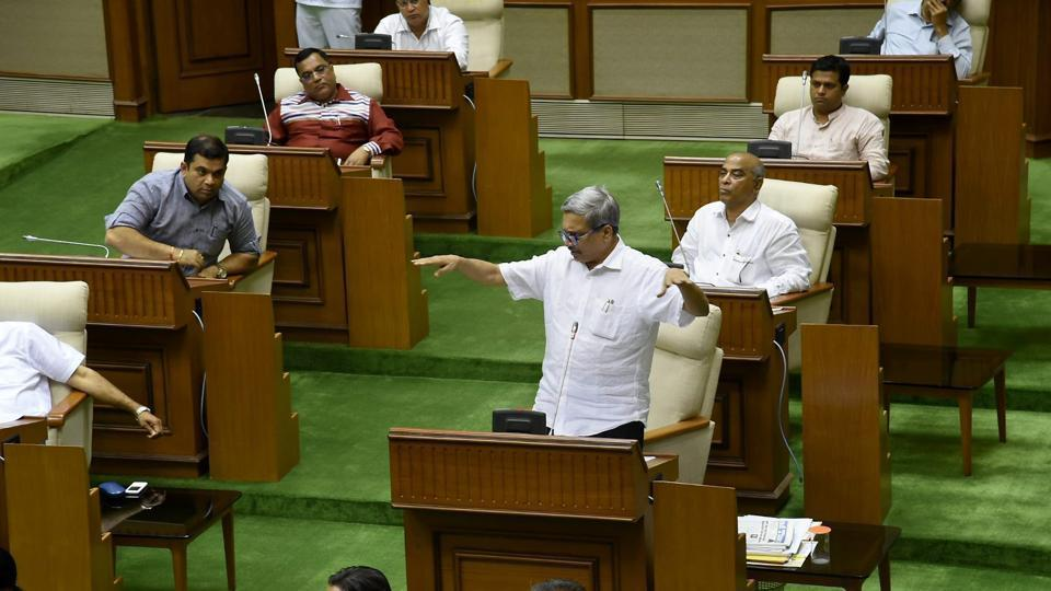 Goa chief minister Manohar Parrikar speaks during a special session of the State Assembly on the GST Bill in Panaji on Tuesday.