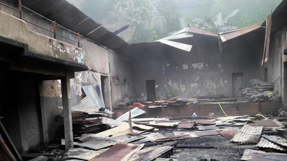 The charred remains of the 87-year-old Raj Rajeswari Hall run by the Bengali Association of Kurseong.